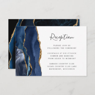 Modern Navy Blue Gold Agate Wedding Reception Enclosure Card