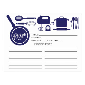 Modern Navy Blue Kitchen Utensils Recipe Card Postcard