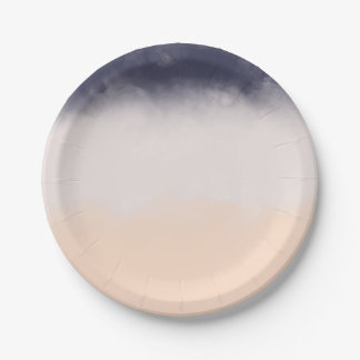 Modern Navy Blue Peach Watercolor Block Stripes Paper Plate