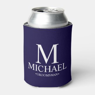 Modern Navy Blue Personalized Groomsman Can Cooler