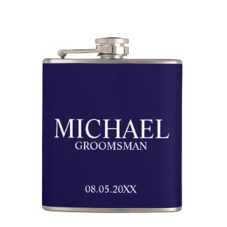 Modern Navy Blue Personalized Groomsman Hip Flask