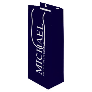 Modern Navy Blue Personalized Groomsman Proposal Wine Gift Bag