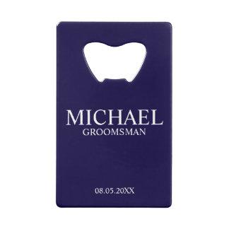 Modern Navy Blue Personalized Groomsman Wallet Bottle Opener