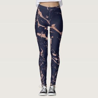 Modern navy blue rose gold marble pattern leggings