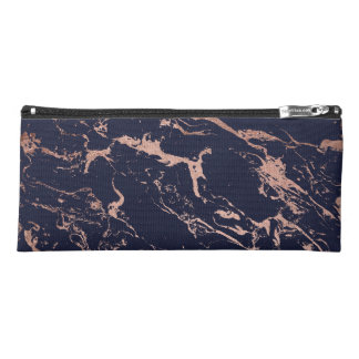 Modern navy blue rose gold marble pattern pencil case