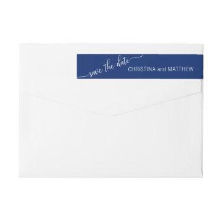 Modern Navy Blue White SAVE THE DATE Wedding Wrap Around Label
