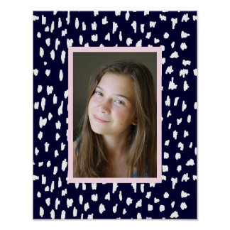 Modern Navy Blue with Abstract Dots and your Photo Poster