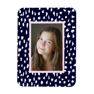 Modern Navy Blue with Abstract Dots and your Photo Rectangular Photo Magnet