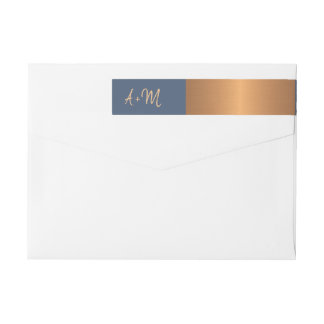 Modern navy copper metallic return address wrap around label