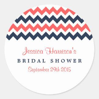 Modern Navy & Coral Chevron Bridal Shower Stickers
