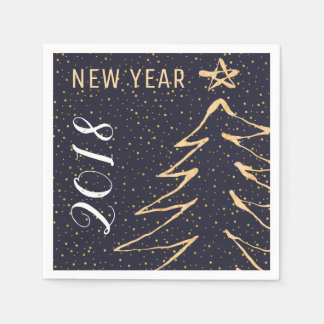Modern navy gold white New Years party 2018 Disposable Napkins