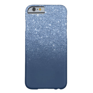Modern navy peony faux glitter ombre pattern barely there iPhone 6 case