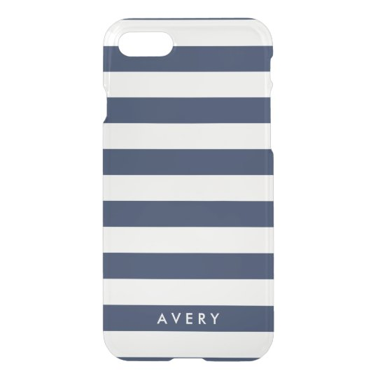 Modern Navy Stripe Clear iPhone Case