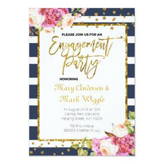 Modern Navy Stripes Engagement Party Invitation