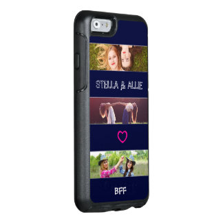 Modern Navy Stripes & Photo w/Custom Names & Text OtterBox iPhone 6/6s Case