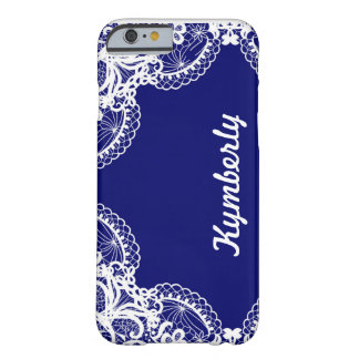 Modern Navy & White Lace with Personalized Name Barely There iPhone 6 Case