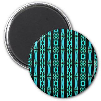 Modern Neon Aquamarine Teal Background Pattern 2 Inch Round Magnet
