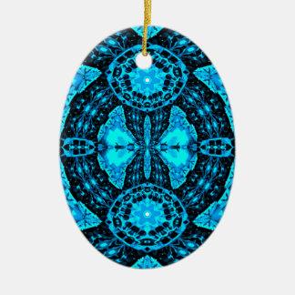 Modern Neon Blue Funky Pattern Ceramic Ornament