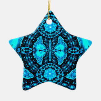 Modern Neon Blue Funky Pattern Ceramic Star Ornament