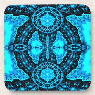 Modern Neon Blue Funky Pattern Coaster