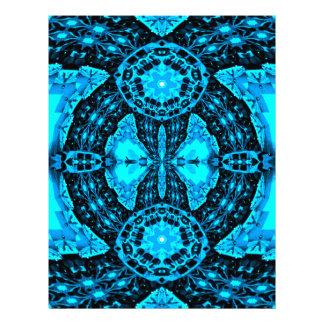 Modern Neon Blue Funky Pattern Letterhead