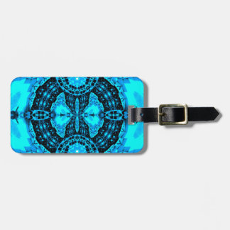 Modern Neon Blue Funky Pattern Luggage Tag