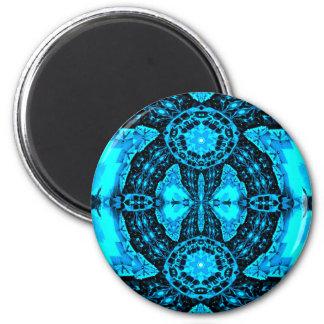 Modern Neon Blue Funky Pattern Magnet