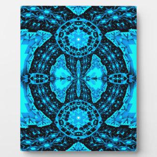 Modern Neon Blue Funky Pattern Plaque