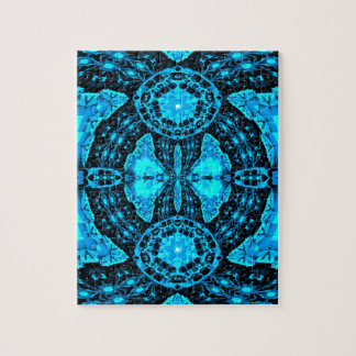 Modern Neon Blue Funky Pattern Puzzle