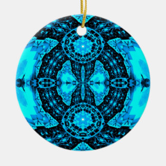 Modern Neon Blue Funky Pattern Round Ceramic Ornament