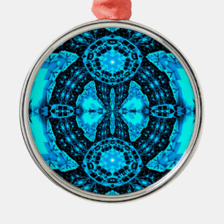 Modern Neon Blue Funky Pattern Silver-Colored Round Ornament