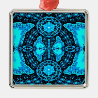 Modern Neon Blue Funky Pattern Silver-Colored Square Ornament