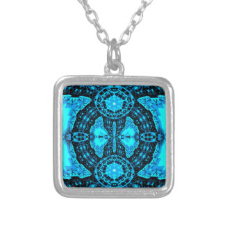Modern Neon Blue Funky Pattern Silver Plated Necklace