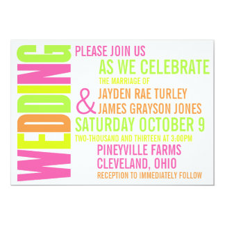 Modern Neon Brights Block Print Wedding Invitation