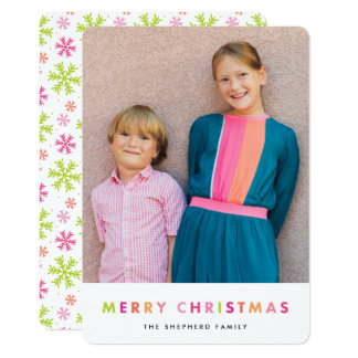 Modern Neon Merry Christmas Photo Card