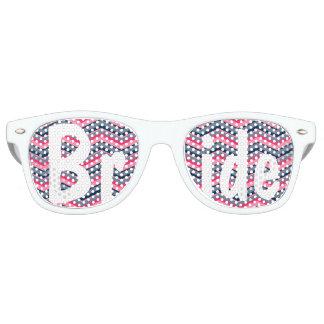 Modern neon pink navy blue chevron wedding Bride Retro Sunglasses