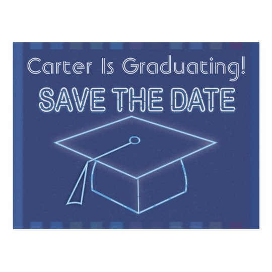 Modern Neon Sign Graduation Save The Date Postcard