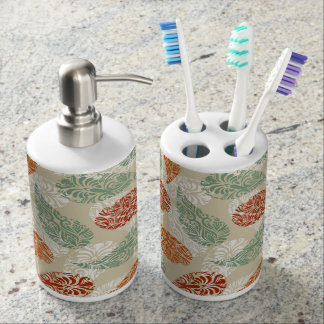 Modern Neutral Earth Tones Paisley Pattern Bathroom Set