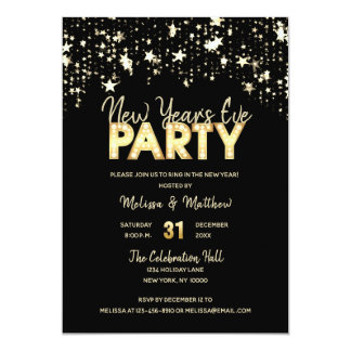 Modern NEW YEAR'S EVE Party Gold Glitter Lights Card