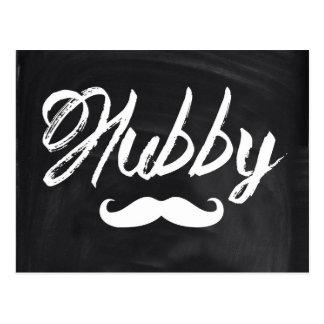 modern newlywed groom Mustache hubby Post Card