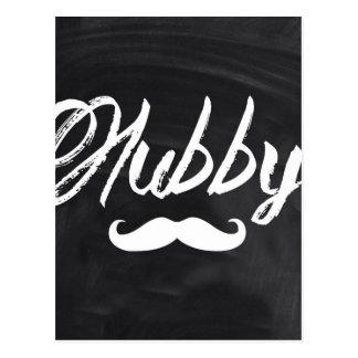 modern newlywed groom Mustache hubby Postcard