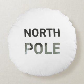 Modern North Pole silver text Christmas Round Pillow