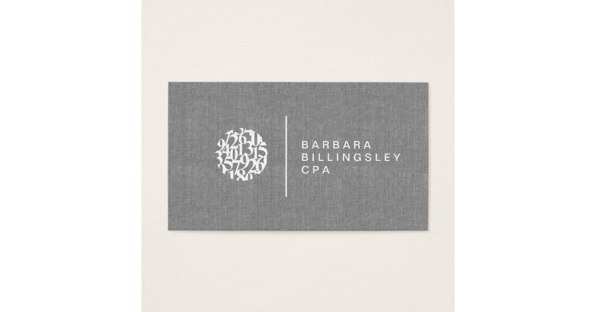 Modern Numbers Logo Linen Accountant Business Card | Zazzle.ca