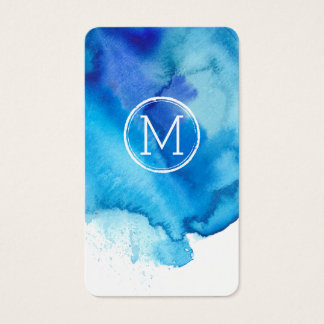 Modern Ocean Beachy Blue Watercolor Monogram Business Card