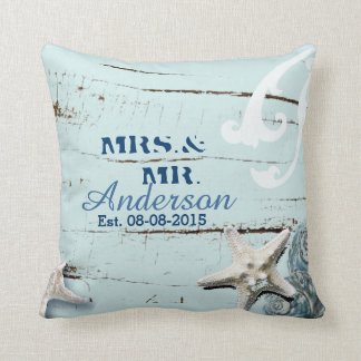 modern ocean SeaShells Beach Wedding Throw Pillow