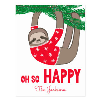 Modern Oh So Happy Sloth Hanging Postcard