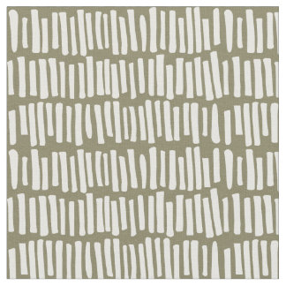 Modern Olive and White Line Pattern Fabric