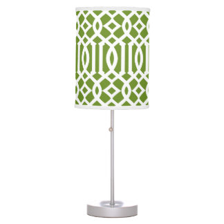 Modern Olive Green and White Trellis Table Lamp