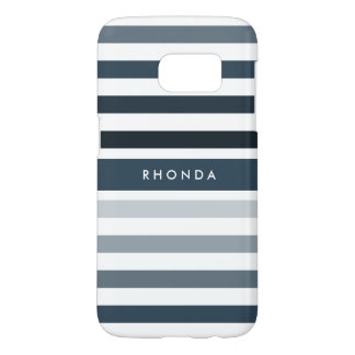 Modern Omber Stripes With Name in Dark Blue Samsung Galaxy S7 Case