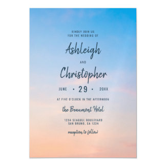 Modern Ombre Blue Sunrise Wedding Invitati Magnetic Card